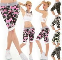 ITALY Damen Bermuda Shorts kurze Hose Capri Baggy Sweat JogPants Camouflage