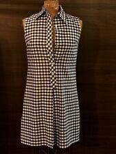 Vtg Fritzi of California Cotton Navy & White Plaid Check Mod Shirt Day Dress