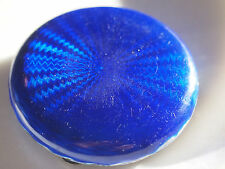 Antique 1900s Sterling Silver Gold Wash Cobalt Blue Guilloche Enamel Compact Box