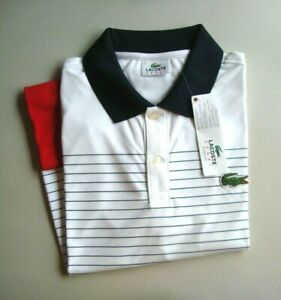 Lacoste Sport ANDY RODDICK White/Red/Black/Stripes Men's Polo Shirt NEW Size XS