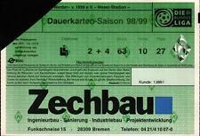 Ticket BL 98/99 Jahreskarte SV Werder Bremen, Dauerkarte Weser-Stadion
