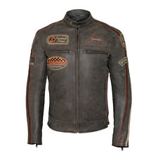 Classic Mens British Motorcycle Leather Jacket With Badges Biker Brown Striped