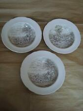 SPODE THE HUNT BROWN AND WHITE LIPPED BOWLS X 3