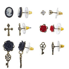 Lux Accessories Burnished Gold Tone Regal Cross Cameo Multiple Earring Set 6pc