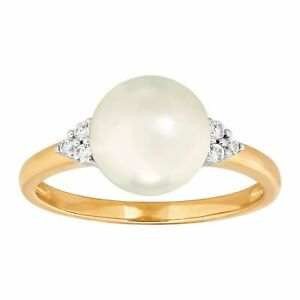 Welry '9-9.5 mm Freshwater Pearl Ring with White Sapphire' in 14K Gold, Size 8