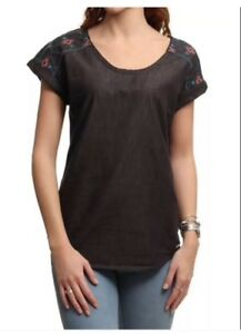 ROXY EVERGREEN WOMENS EMBROIDERED SS T SHIRT TOP
