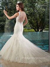 NEW Karelina Sposa Marys Bridal Gown C8017 Mermaid Lace Wedding Dress Ivory Sz14