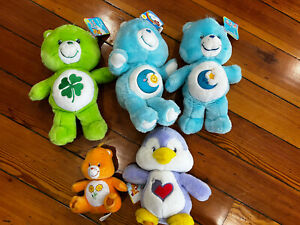 "Care Bears 14"" Medium One 7"" Soft Plush Huggable Material Lot of 5"