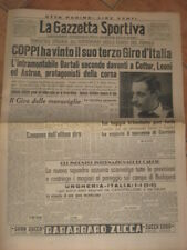 GAZZETTA DELLO SPORT FAUSTO COPPI TRIONFO GIRO D'ITALIA 1949 CICLISMO