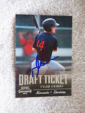 Minnesota Twins Tyler Grimes Signed 2011 Playoff Draft Ticket Card Auto