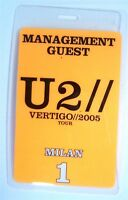 U2 Vertigo 2005 Tour Milan Orange Backstage Pass New Official NOS Band Merch