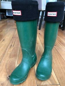 Hunter wellington boots UK size 3 in green