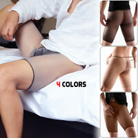 Men's Glitter Tights Sheer Polyester Sheath Pouch Stretchy Pantyhose Stockings