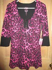 NEW BETSEY JOHNSON PJ's SLEEPWEAR Sz M TOP SHIRT Pajamas Loungewear Pink Animal