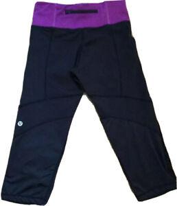 Lululemon Run For Your Life Crop Pants Black And Purple Running Yoga  Sz 4