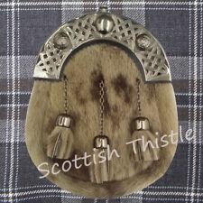 Men's Scottish Highland Full Dress Kilt Sporran Leather Seal Skin Celtic Cantle