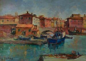 ANTONIO SBRANA Canale a Livorno, olio su tavola, 50x70cm,opera  firmata