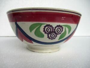 """Antique Blue & Pink Drape Spongeware Bowl Floral Pattern Hand Painted Porcela""""05"""
