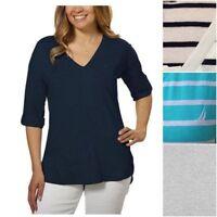 WOMEN'S NAUTICA V-NECK ROLL TAB TEE HI LOW HEM 100% cotton L XL XXL stripe NEW
