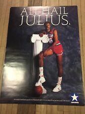 Vintage 80s Converse Dr J Julius Erving Poster Orginal Dead Stock Rare