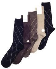 Perry Ellis 4 Pack Pairs Soft Luxury Argyle Dress Socks Beige or Black Size 7-12