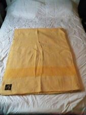 "Vtg 1960's 4 Points Golden Yellow Wool Blanket TRAPPER POINT 89"" x 70"""