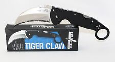 Cold Steel Tiger Claw Pocket Knife Black G-10 Handle Serrated Edge 22KFS