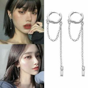 Women 925 Silver Crystal Long Tassel Earrings Threader Drop Dangle Ear Line ~~