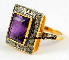 Antique Victorian 1.69cts Rose Cut Diamond Amethyst Silver Wedding Ring Jewelry
