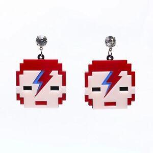 Pixel David Bowie Unique Laser Cut Acrylic Stud Earrings