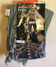Men's Ghost Pirate Skeleton Costume Halloween Caribbean Davy Jones Undead Zombie