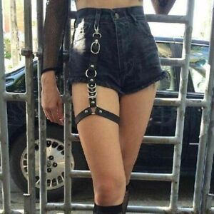 Women Chain Leather Punk Harness Garter Belt Ring Strap Waist Leg Suspender