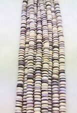 Authentic Wampum Shell  Beads 6 MM Rondelle  (16 Inch Strand) American Quahog