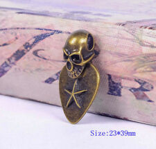 10X Rock Retro Brass Skull Tag Star Gothic Charm Leather necklace Choker Pendant