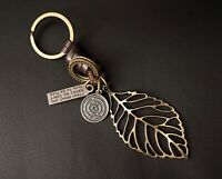 AuPra Leaf Keyring  | Leather Vintage Keychain | Key Ring Pendant Gifts