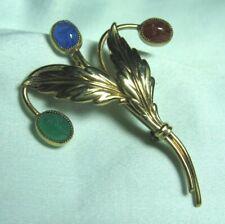 Danecraft 1/20 12K Gf Semi Precious Scarab Flower Pin 5.9 grams 2 1/8�