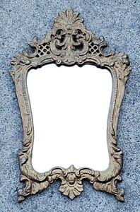 "Antique Ornate Victorian Vanity Mirror Gilt Cast Iron 13"""