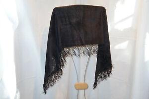 Schultertuch Trachtentuch Schal schwarz 140x36 cm; 3 Seiten mit Fransen