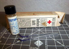 Vintage Red Cross Toothache Outfit box, tweezers & jar, great colors & graphics