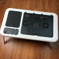 Laptop Desk Bed Tray Adjustable Table Stand USB Cooling Fan Mouse Pad White