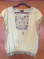 MAX EDITION LIGHT APPLE GREEN 100% COTTON GAUZE TOP WITH NAVY ACCENTS IN XL