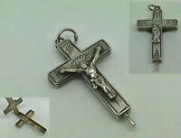 RARE Antique 18/19thC French Sterling Silver Cross Reliquary Pendant + Relics