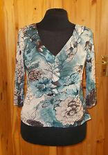 PER UNA M&S slate blue brown floral stretch chiffon 3/4sleeve frill tunic top 16