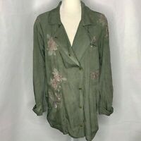 Standard Grace Snap Front Shirt Jacket S Army Green Floral Embroidered Pockets