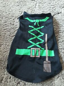 """small dog lycra jacket/fancy dress black and green, approx 11"""" long"""