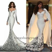 With Cape Mermaid Prom Dress White Evening Gown Lace Beading Formal Custom Size