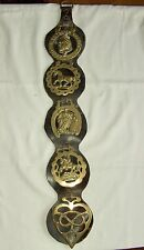 Antique Horse Brasses x 5  on Leather Martingale Strap Length 23""