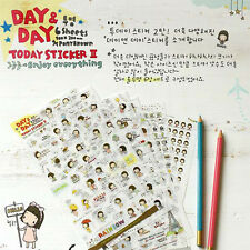6 Sheets PVC Cute Diary Decorative Adhesive Day&Day Stickers DIY Craft Decal