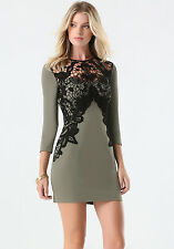 BEBE OLIVE GREEN BLACK LACE APPLIQUE 3/4 SLEEVE DRESS NWT NEW LARGE L