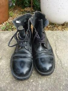 British Army Black Leather Drill Boots Size 9L Hobnail Soles, 1992